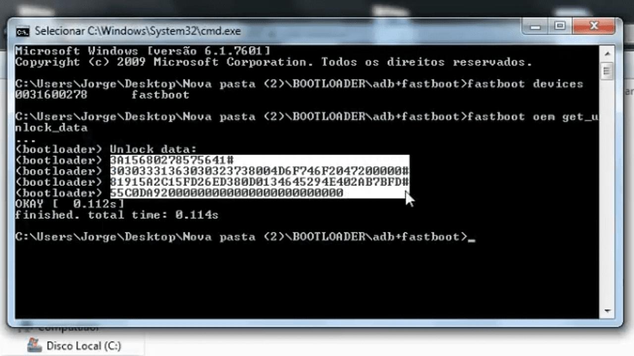 Seleção de código no prompt de comando