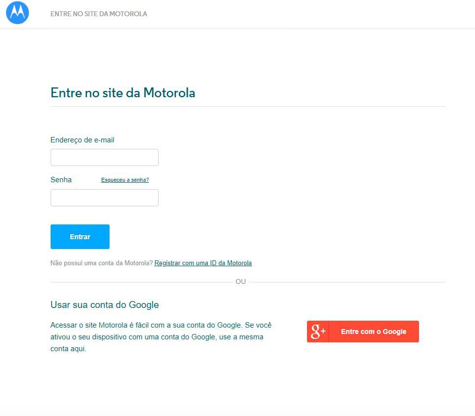 Área de login do site Motorola Global