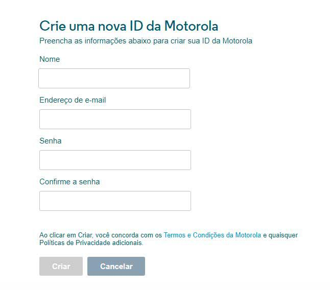 Área de cadastro do site Motorola Global