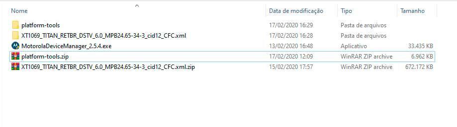 Arquivos necessários para a instalação do firmware