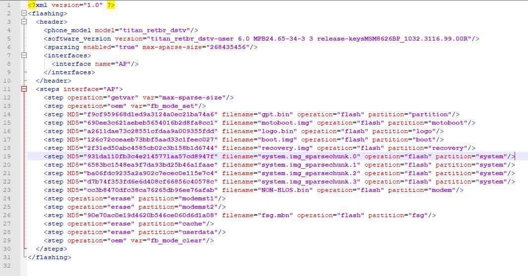 Conteúdo do arquivo flashfile.xml