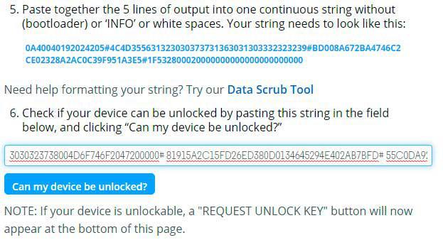 Inserido código de desbloqueio do bootloader.