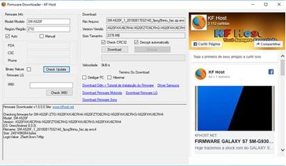 Firmware Downloader - software usado para baixar firmware Samsung e LG