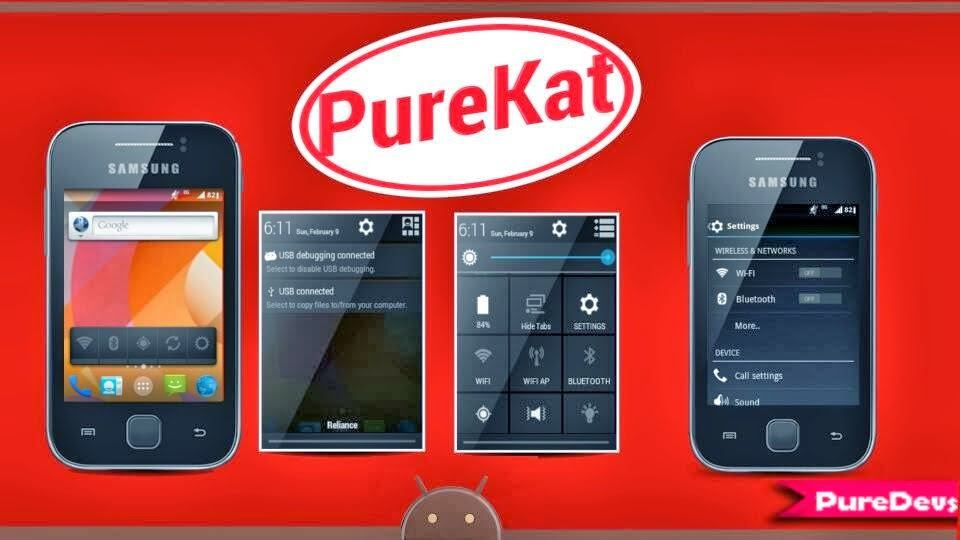 Custom rom PureKat 3.0 para Samsung Galaxy Y GT-S5360.